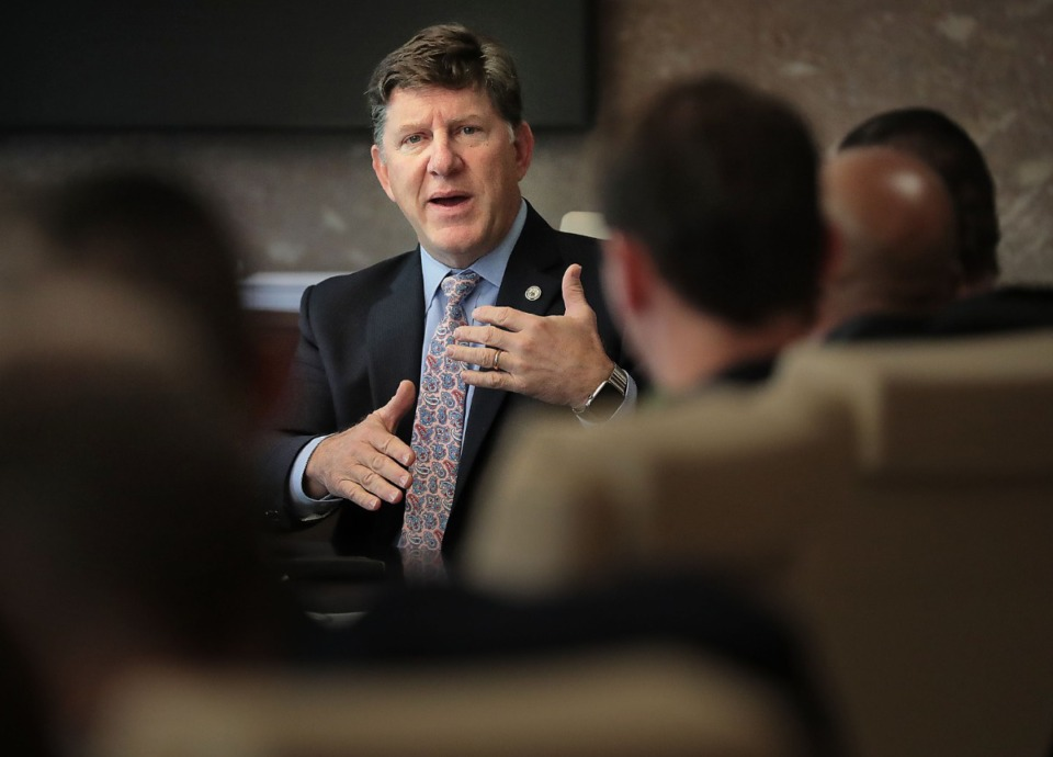 <strong>TVA president and CEO Jeff Lyash (shown at a meeting on Nov. 13, 2019, between TVA officials and Memphis City Council members) said that a&nbsp;draft report on Memphis Light, Gas and Water Division leaving the federal agency is off by hundreds of millions of dollars.</strong> (Daily Memphian file)