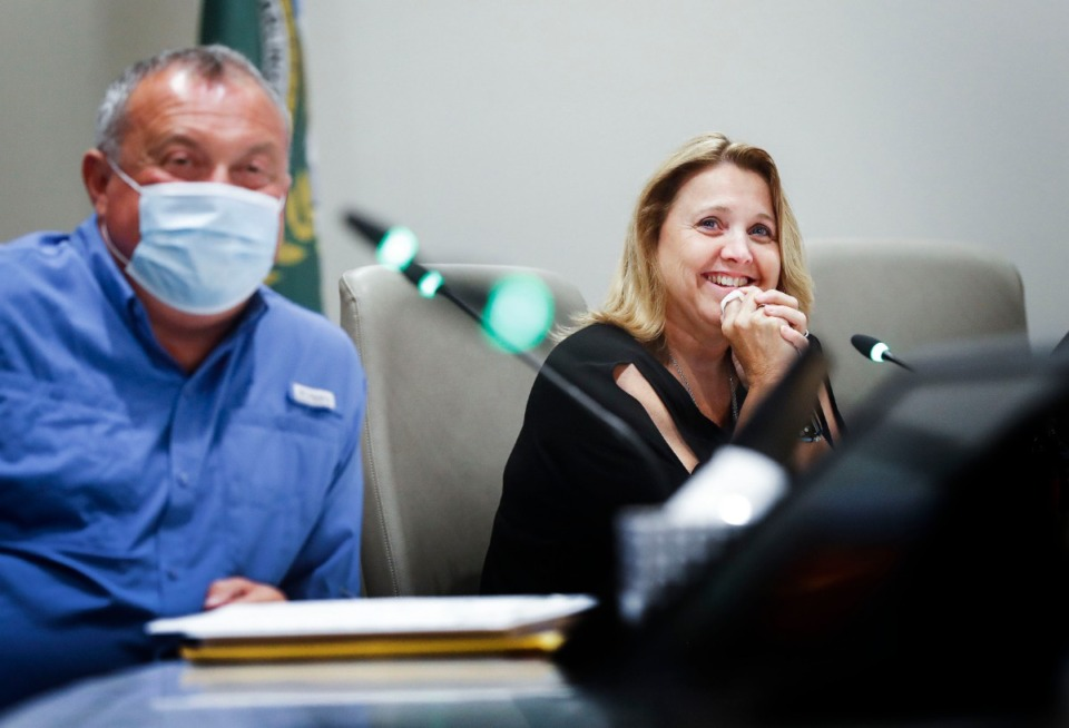 <strong>Arlington Community Schools Superintendent Tammy Mason (right) watches her retirement video during a board meeting on Tuesday, June 23, 2020.</strong> (Mark Weber/Daily Memphian)