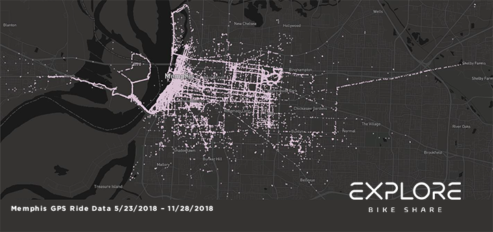 <strong>Heat maps show where Explore Bike Share riders have gone in the system's first six months. The maps were generated by the bikes' GPS systems. </strong>(Map courtesy of Explore Bike Share)