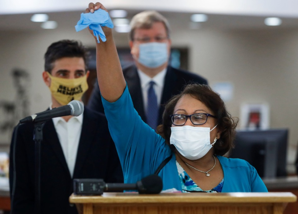 <strong>Memphis City Councilwomen Patrice Robinson encourages the use of gloves and masks during a press conference announcing the City's Mask Up Memphis campaign on Monday, June 22, 2020 at Whitehaven Branch Library. The campaign that is designed to encourage African Americans to wear face mask to reduce the spread of COVID-19.</strong> (Mark Weber/Daily Memphian)