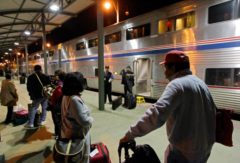 <strong>Passengers wait to board Amtrak's City of New Orleans train in Memphis. In the wake of the COVID-19 pandemic and declining ridership, Amtrak has announced plans to reduce the City of New Orleans and other long-distance routes to three times a week, starting Oct. 1.</strong> (Daily Memphian file)