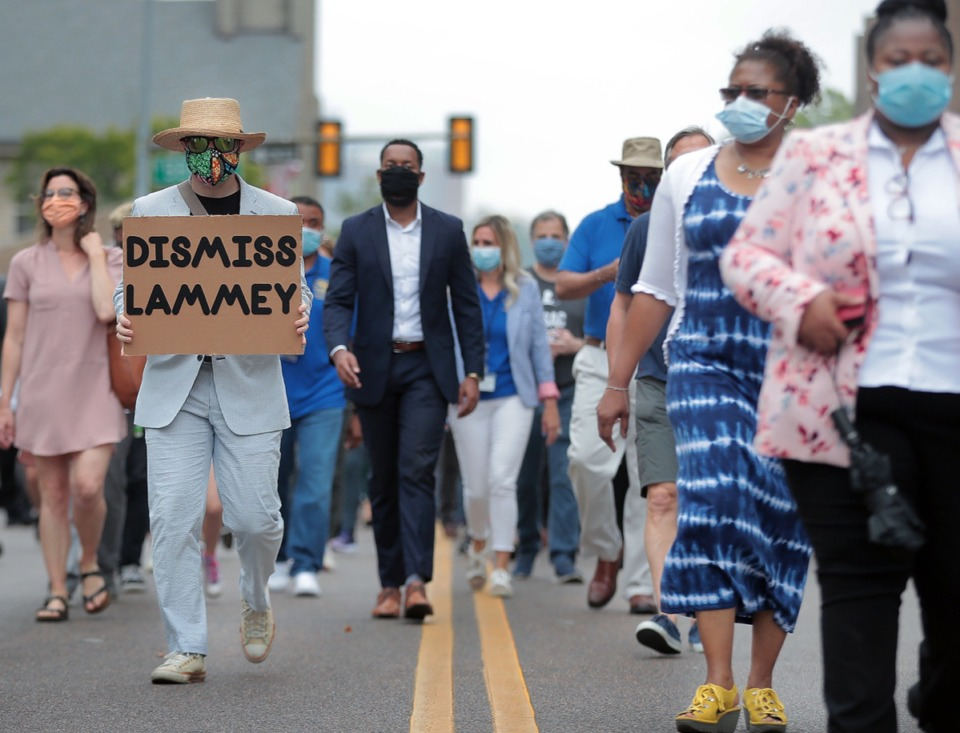 <strong>Several hundred legal professionals gathered outside 201 Poplar and marched around Downtown Memphis June 24, 2020 in a show of unity to disavow racism in the legal system.</strong> (Patrick Lantrip/Daily Memphian)