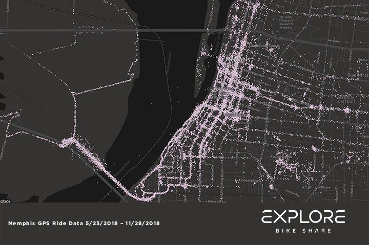 <strong>Big River Crossing, the pedestrian/bike trail on the Harahan Bridge across the Mississippi River, was the most popular Explore Bike Share station in the system's first six months.&nbsp;</strong>(Map courtesy of Explore Bike Share)