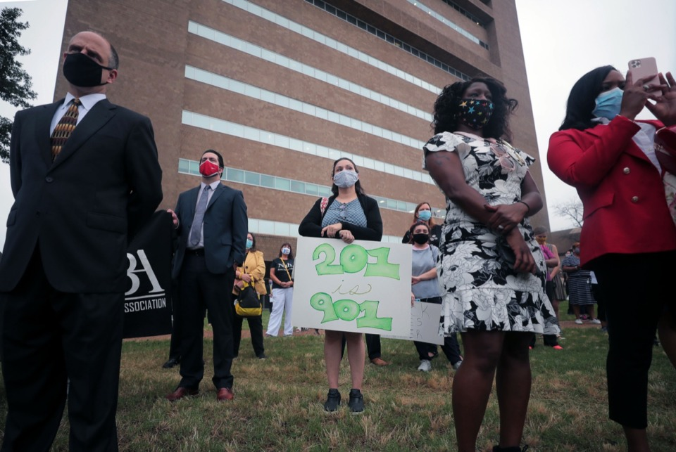 <strong>The Ben F. Jones National Chapter of the Bar Association, the Memphis Bar Association and the Association for Women Attorneys held a Bar Unity march June 24, 2020 that began outside of 201 Poplar.</strong> (Patrick Lantrip/Daily Memphian)