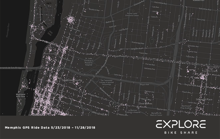<strong>Heat maps show where Explore Bike Share riders have gone in the system's first six months. The maps were generated by the bikes' GPS systems.&nbsp;</strong><span>(Map courtesy of Explore Bike Share)</span>