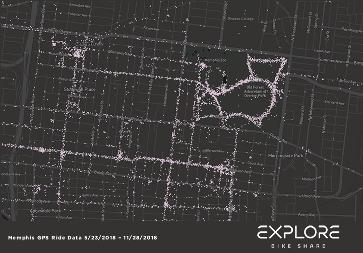 <strong>Overton Park was the No. 2 most-popular Explore Bike Share station in the system's first six months. </strong>(Map courtesy of Explore Bike Share)