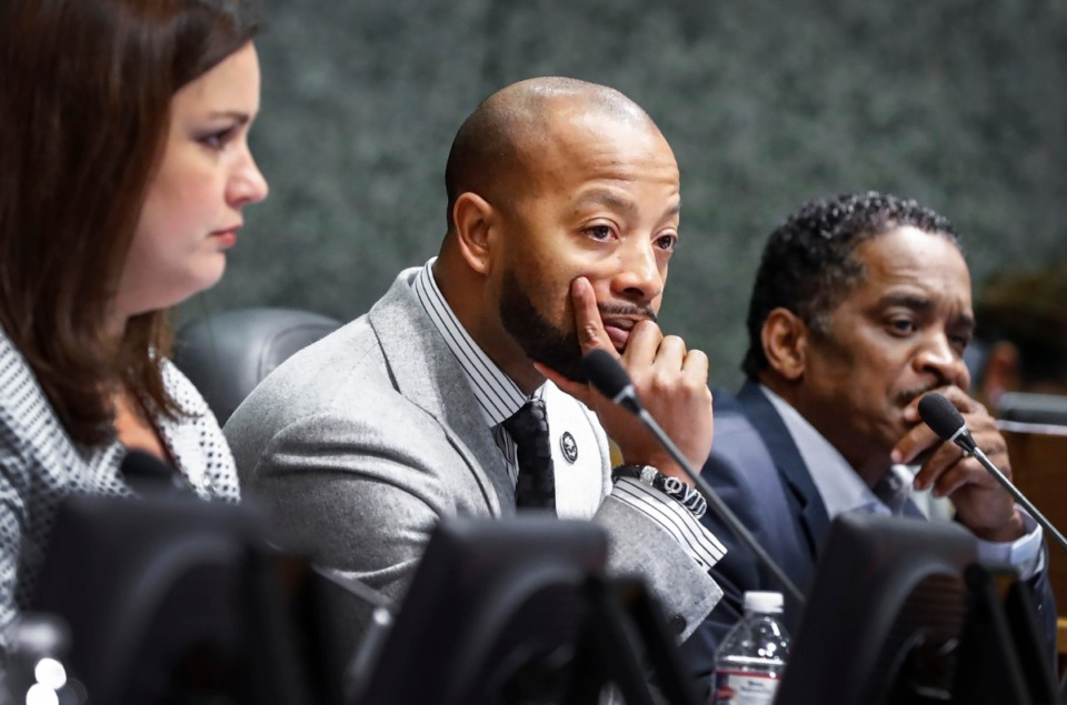 <strong>Shelby County Commissioner Mickell M. Lowery (center) is seen at a County Commission meeting on Feb. 24, 2020, pre-COVID.</strong> (Mark Weber/Daily Memphian)