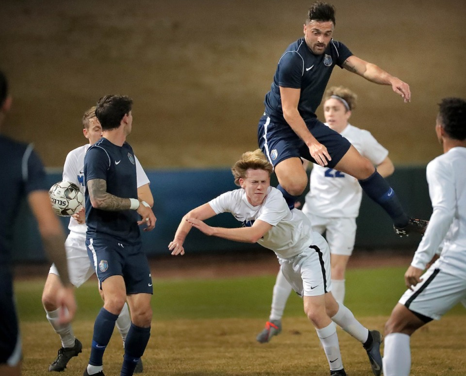 <strong>In this file photo, Memphis 901FC forward Brandon Allen (29) collides with the Tigers' Grant Caldwell (7) during 901FC's preseason exhibition games against the University of Memphis at Autozone Park on Feb. 29, 2020. (Jim Weber/Daily Memphian file)</strong>