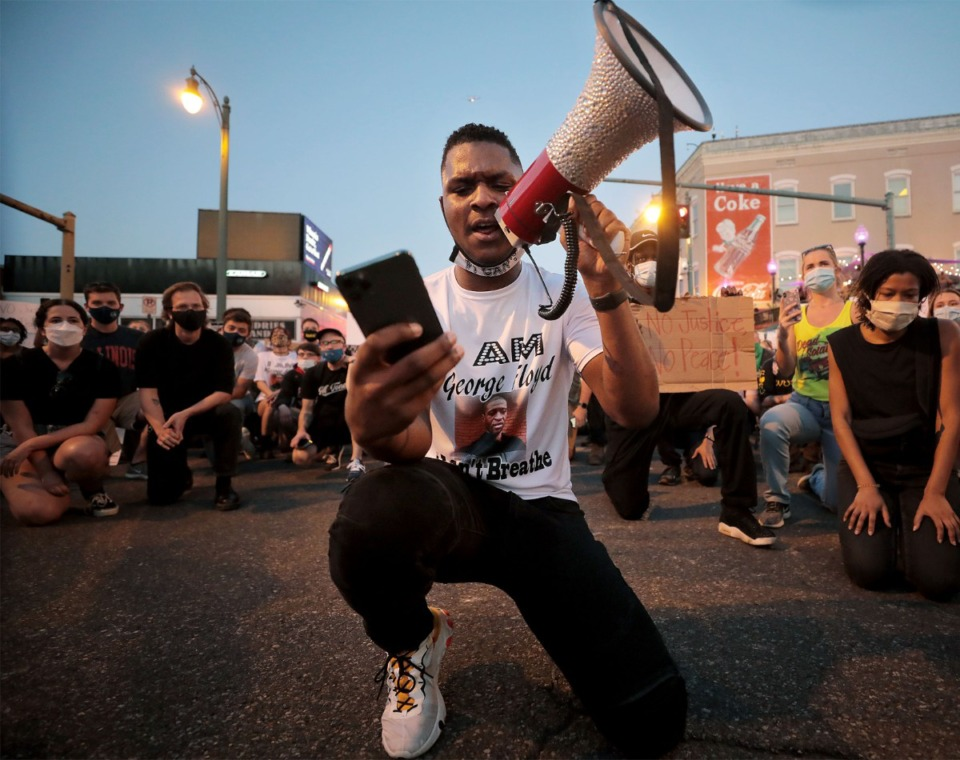 <strong>Devante Hill (center) was one of the first prominent figures to emerge from the protests in Memphis over the death of George Floyd. On May 29, Hill led a peaceful march through Downtown Memphis that included kneeling&nbsp;on Beale Street for 8 minutes and 46 seconds.&nbsp;</strong>(Patrick Lantrip/Daily Memphian)