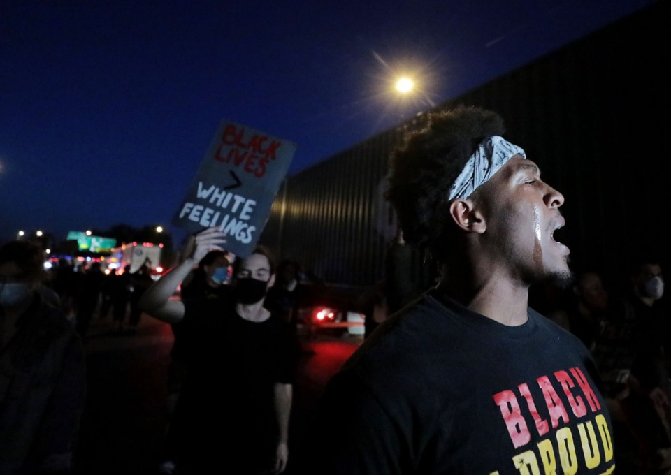 <strong>After spending three straight days participating in the Devante Hill-led marches, a group of protesters who questioned Hill's motivations and possible allegiances with the police split off on their own march. It began on May 31 by blocking traffic on Interstate 55.</strong> (Patrick Lantrip/Daily Memphian)