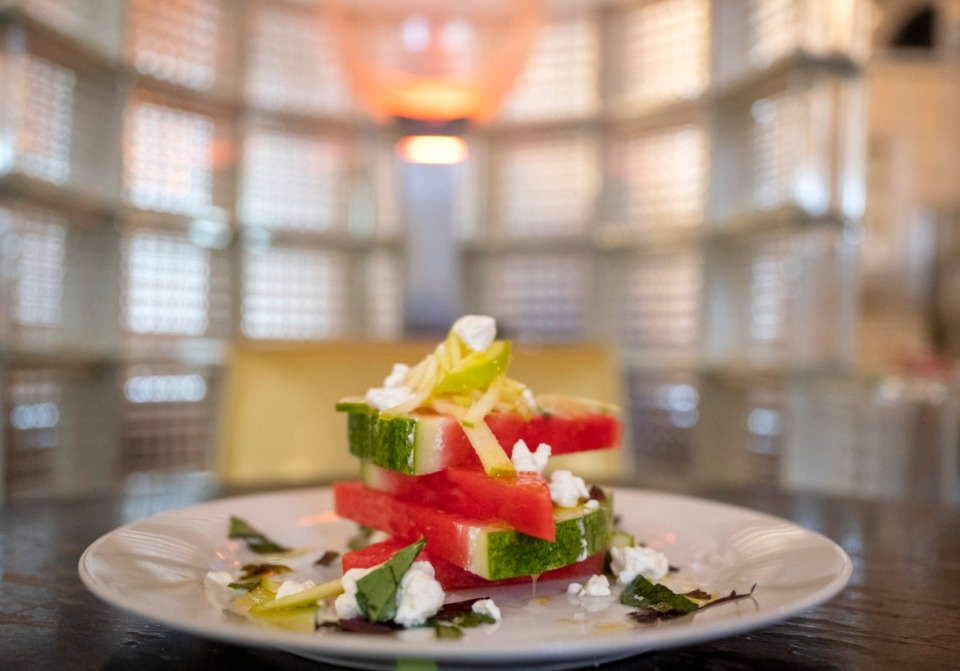 <strong>The watermelon and green apple salad from The Beauty Shop has Maldon salt, mint, Thai basil, French feta, extra virgin olive oil and lime.&nbsp;</strong>(Greg Campbell/Special to Daily Memphian)