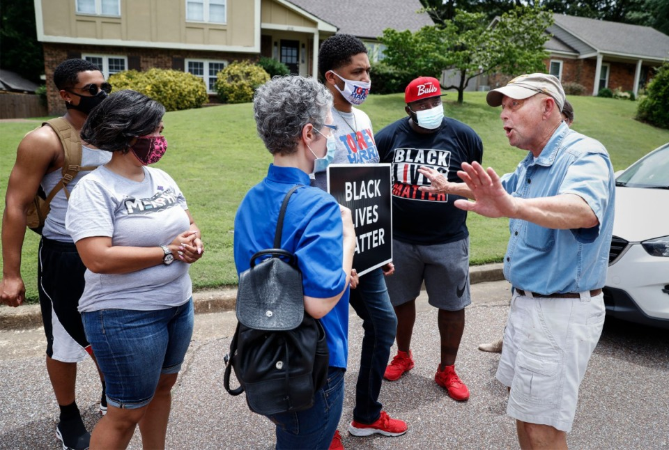 <strong>Tim Treadwell (right) talks with protesters about their Black Lives Matter protest on Monday, June 29, 2020, in Germantown.</strong> (Mark Weber/Daily Memphian)