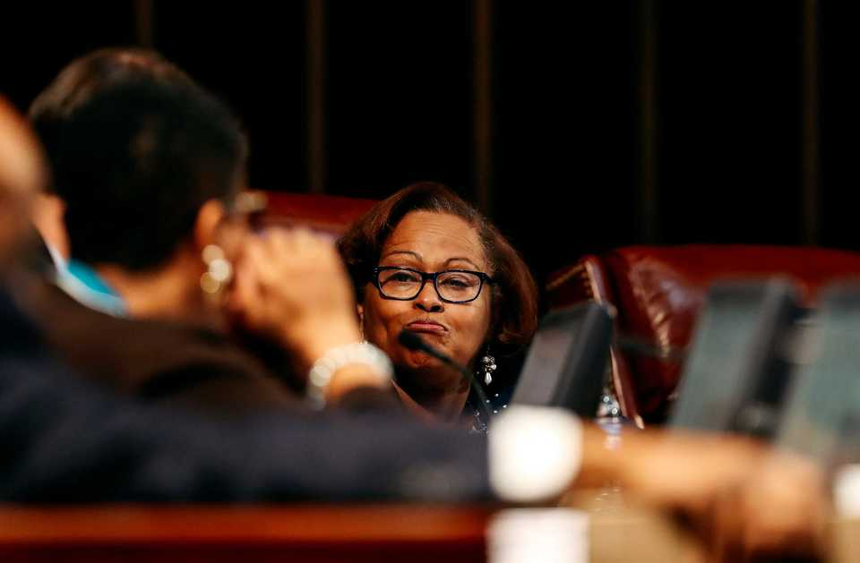 <strong>City Councilwoman Patrice Robinson reacts to a comment by Councilman Worth Morgan during a brief meeting Tuesday, Dec. 4. Robinson was one of four council members who walked out of the session after the body deadlocked over an appointment to the District 1 vacancy.</strong> (Houston Cofield/Daily Memphian)