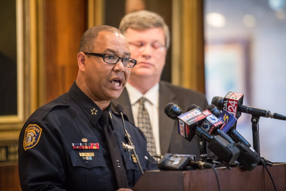 <strong>Memphis Police Director Michael Rallings (left), who at the time of this file photo was Interim MPD director, and Memphis Mayor Jim Strickland held a press conference Tuesday, June 30, 2020.</strong> (Daily Memphian file)&nbsp;