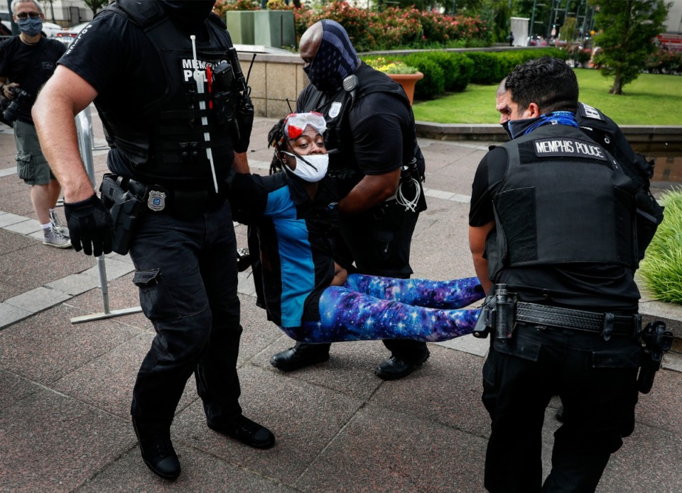 <strong>A Memphis activist who goes by 'Salamander' is arrested by Memphis Police outside City Hall on Wednesday, July 1, 2020.</strong> (Mark Weber/Daily Memphian)