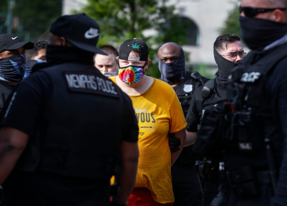 <strong>A protester is arrested outside City Hall on Wednesday, July 1, 2020.</strong> (Mark Weber/Daily Memphian)
