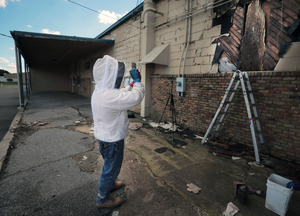 <strong>Ever the marketer, David Glover takes a picture for social media of a seven-foot hive he's about to remove from an industrial complex in North Memphis on June 17.</strong> (Patrick Lantrip/Daily Memphian)