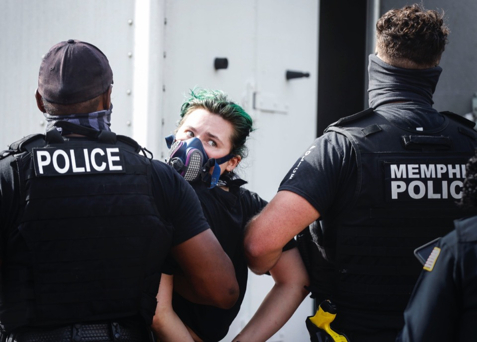<strong>Police arrest a protester outside of City Hall on Wednesday, July 1, 2020.</strong> (Mark Weber/Daily Memphian)