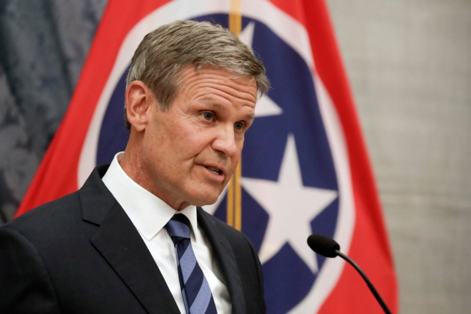 <strong>Gov. Bill Lee answers questions during a news conference Wednesday, July 1, in Nashville.</strong>&nbsp;<strong>Lee signed an executive order Wednesday that will create limited liability protection for hospitals, nursing homes and health care workers who deal with COVID-19 patients each day.</strong>&nbsp;(Mark Humphrey/Associated Press)