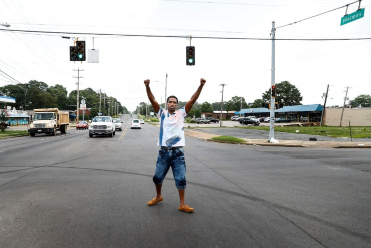 <strong>Daniel Jefferson celebrates his release after serving time for the 2015 shooting a plainclothes officer near Mill Branch Road and Holmes Road. He said he did not know the man, who was not wearing a uniform, was a police officer.&nbsp;</strong>(Mark Weber/Daily Memphian)