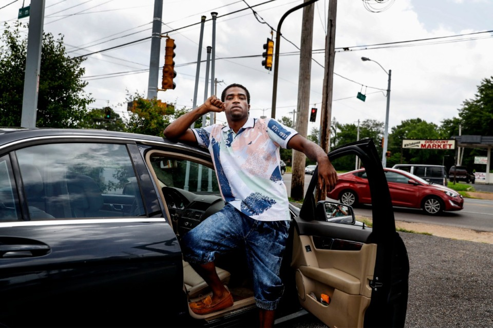 <strong>Daniel Jefferson stands near the intersection of Mill Branch Road and Holmes Road after his recent release from jail for the shooting of a police officer in 2015. According Jefferson, roughly a block away he encountered an undercover officer, who approached him with his gun drawn. Jefferson said he shot what he thought was a robber and fled the scene. While in custody, a handcuffed Jefferson was beaten by several officers, who were later suspended for their part in the altercation.</strong> (Mark Weber/Daily Memphian)