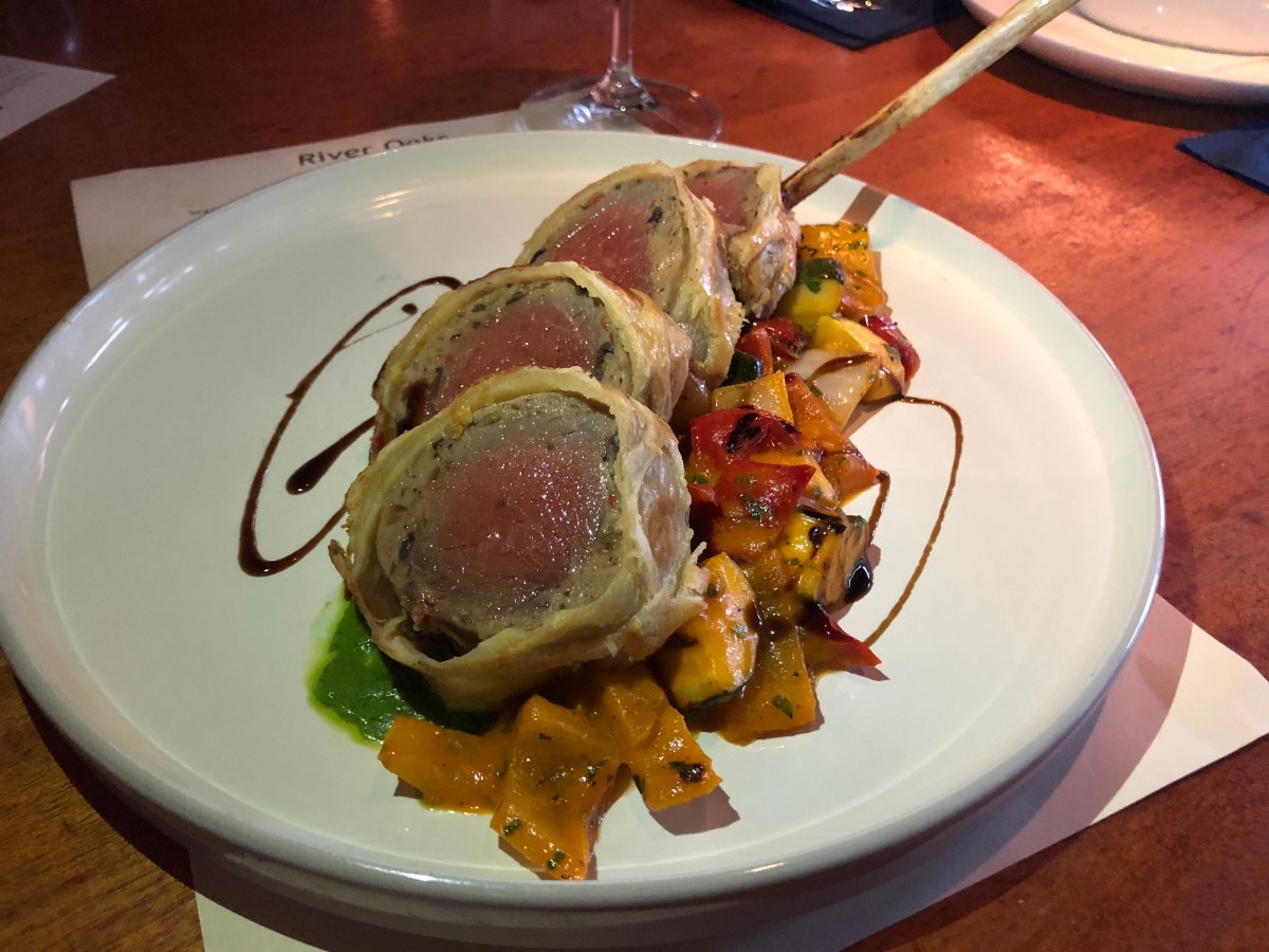 <strong>Rack of lamb en croute is a recent Saturday night special at River Oaks.</strong> (Jennifer Biggs/Daily Memphian)