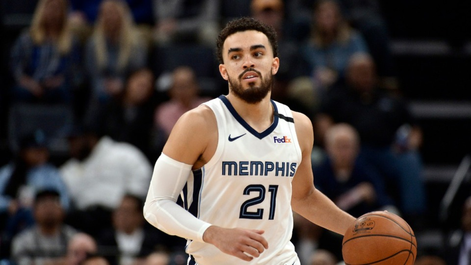 <strong>Memphis Grizzlies guard Tyus Jones (21) plays in the second half of an NBA basketball game against the Denver Nuggets Tuesday, Jan. 28, 2020, at FedExForum.</strong> (Brandon Dill/AP)