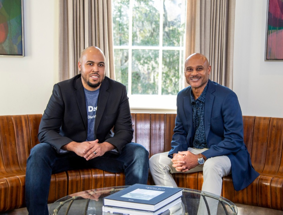 <strong>Memphis native Austin Webster (left, with his business partner Darrell Thompson) describes the Deepr&nbsp;app as &ldquo;Shazam on steroids.&rdquo;&nbsp;Webster says he&rsquo;s always been obsessed with shedding light on those with important background roles in every hit record. &ldquo;That&rsquo;s just always been a passion of mine, knowing who&rsquo;s behind the song, loving the music.&rdquo;</strong> (Courtesy of SCAD)