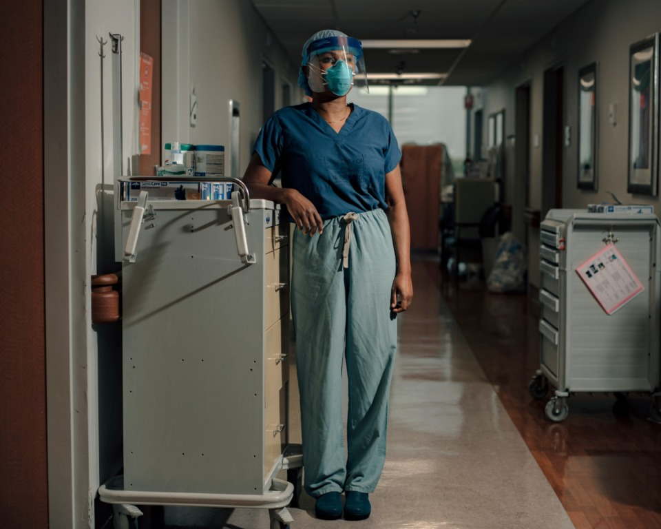 <strong>Dr. Kelinda Ramsay stands in a quarantined hallway of Methodist North Hospital where COVID-19 patients are being treated. Ramsay has been watching the numbers of Latino people in her care inch upward for more than a month.</strong> (Houston Cofield/Special to the Daily Memphian)