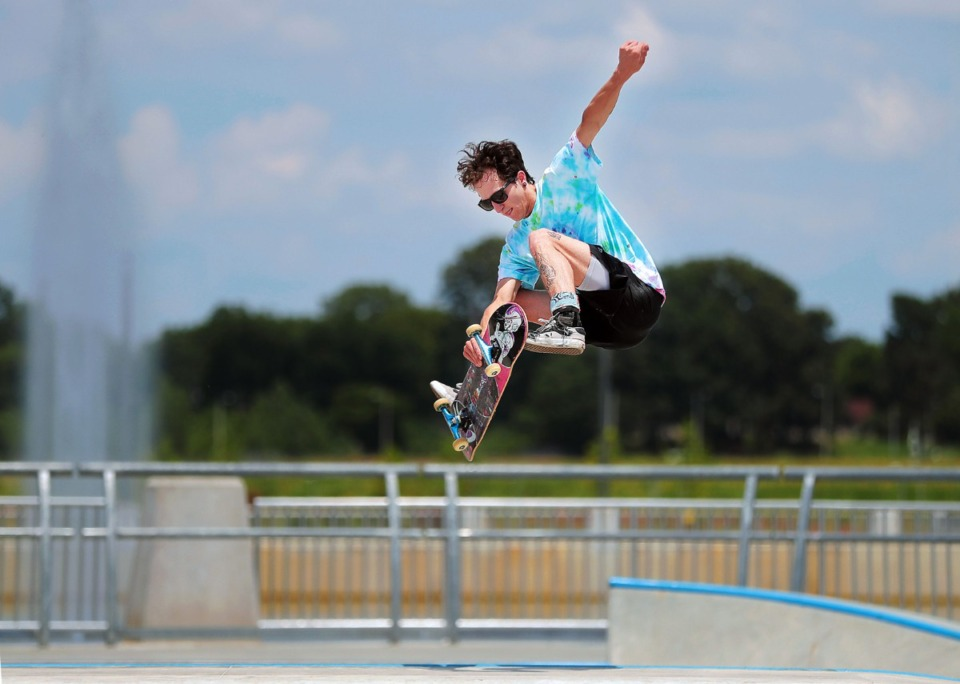 <strong>Chase Harvell gets some big air during local artist David Yancy's Best Trick Contest at the Raleigh skatepark July 4, 2020.</strong> (Patrick Lantrip/Daily Memphian)