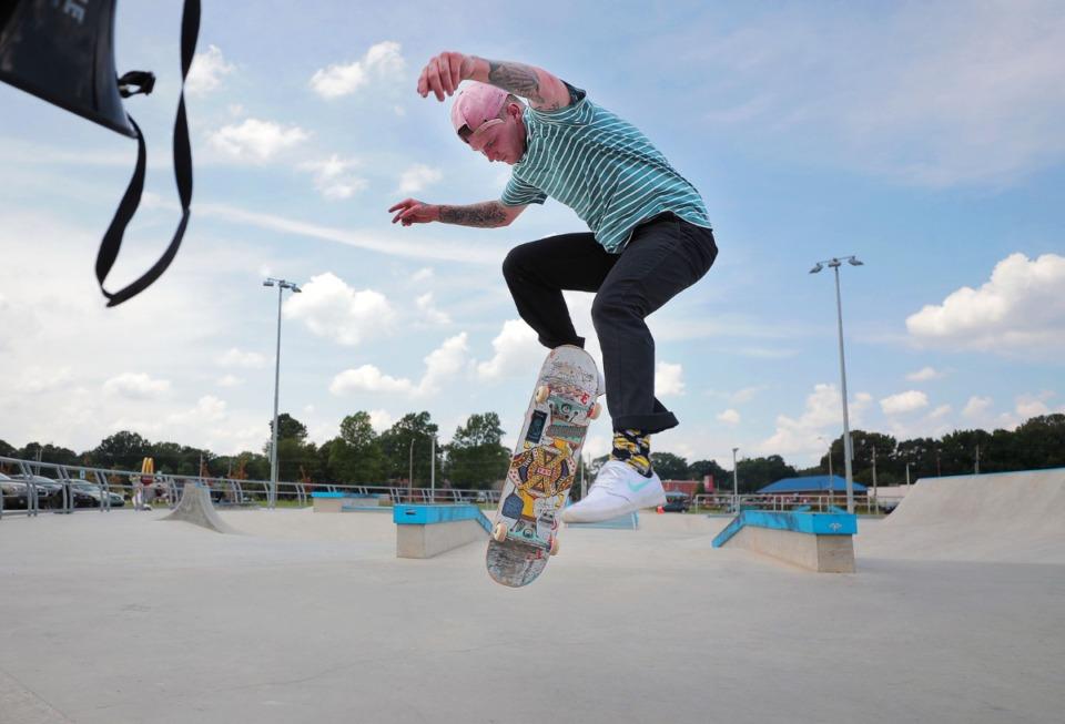 <strong>Austin Wayne Gilbert does a kick flip&nbsp;at the Raleigh skatepark during local artist David Yancy's Best Trick Contest July 4, 2020.</strong> (Patrick Lantrip/Daily Memphian)