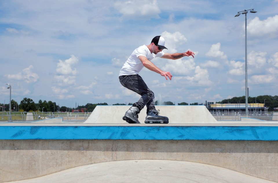 <strong>Stephen Markum grinds a ledge&nbsp;at the Raleigh skatepark during local artist David Yancy's Best Trick Contest July 4, 2020.</strong> (Patrick Lantrip/Daily Memphian)