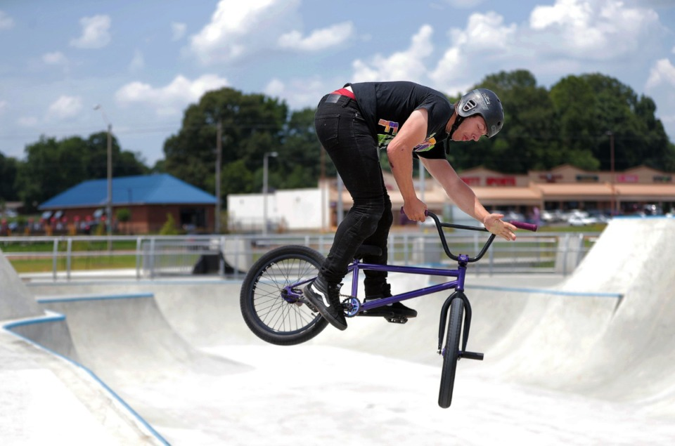 <strong>Taylor Chrissonberry gets some air&nbsp;at the Raleigh skatepark during local artist David Yancy's Best Trick Contest July 4, 2020.</strong> (Patrick Lantrip/Daily Memphian)