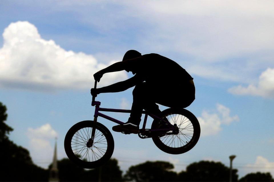 <strong>Taylor Chrissonberry warms up before local artist David Yancy's Best Trick Contest at the Raleigh Skate Park July 4, 2020.</strong> (Patrick Lantrip/Daily Memphian)