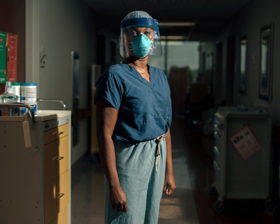<strong>Dr. Kelinda Ramsay stands in a quarantined hallway at Methodist North where COVID-19 patients are being treated. The hospital recently reported that the positivity rate is 20% among Hispanic residents being tested.</strong> (Houston Cofield/Special to&nbsp; Daily Memphian)