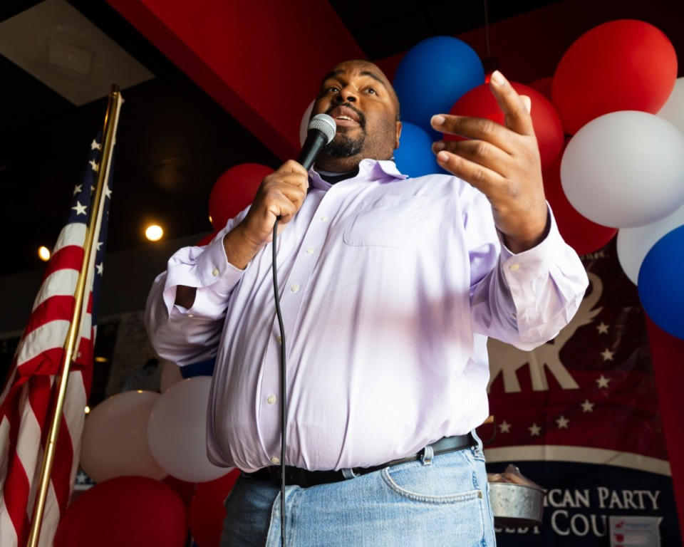 <strong>Paul Boyd, the Republican nominee for General Sessions Court Clerk on the August election ballot, speaks at Shelby County Republican Party Party Headquarters in Cordova on July 5, 2020.</strong> (Ziggy Mack/Special to Daily Memphian)