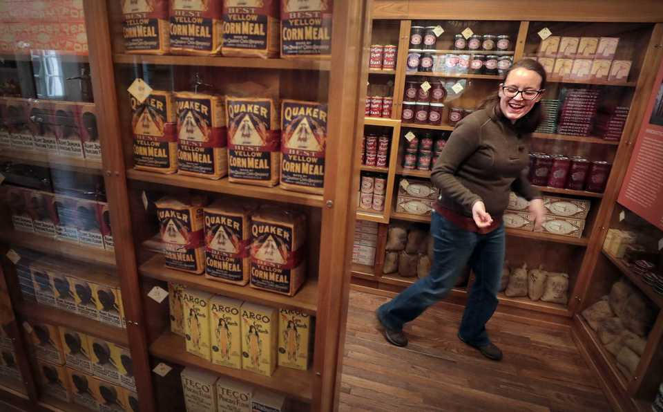 <strong>Supervisor of Exhibits and Graphic Services Caroline Carrico conducts a tour of the new Piggly Wiggly store exhibit, which opens to the public in the remodeled Pink Palace mansion on Dec. 8. </strong>(Jim Weber/Daily Memphian)