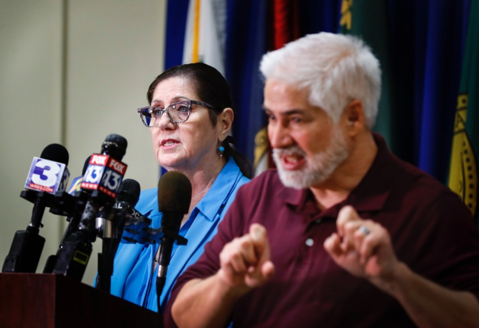 <strong>Shelby County Health Department Director Alisa Haushalter (left) provides updates on the coronavirus outbreak on Monday, March 30, 2020.</strong> (Daily Memphian file)