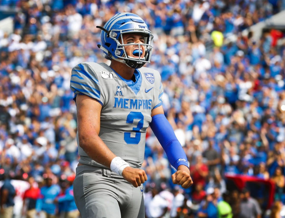 <strong>Look at all those fans in the Liberty Bowl as Memphis quarterback Brady White (3) leads the Tigers against Ole Miss on Aug. 31, 2019.</strong>&nbsp;<strong>It won't look like that again for a while.</strong> (Mark Weber/Daily Memphian)