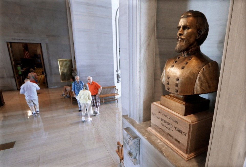 <strong>A bust of Confederate Gen. Nathan Bedford Forrest is displayed in the Tennessee State Capitol in Nashville.&nbsp;On Thursday, July 9, the State Capitol Commission narrowly voted to relocate the bust to the State Museum.</strong> (Mark Humphrey/Associated Press file)