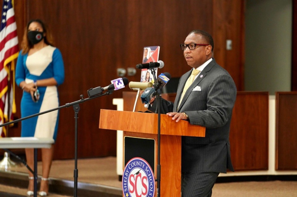 <strong>Superintendent Joris Rays speaks with reporters during a press conference about the district&rsquo;s school reopening plan on July 6, 2020.</strong> (Courtesy of Shelby County Schools)