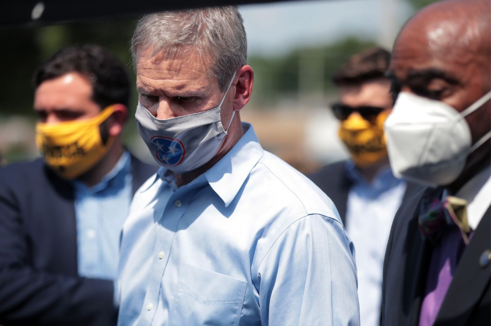 <strong>Tennessee Governor Bill Lee (center) visits a COVID-19 test site at Mississippi Boulevard Christian Church in Memphis June 19, 2020.</strong> (Patrick Lantrip/Daily Memphian file)