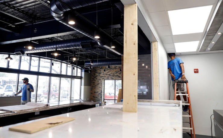 <strong>Construction continues at Southall Cafe on Friday, July 10, 2020, in the former Tobacco Corner building on Mendenhall. The restaurant owners hope to open in mid-August.</strong> (Mark Weber/Daily Memphian)