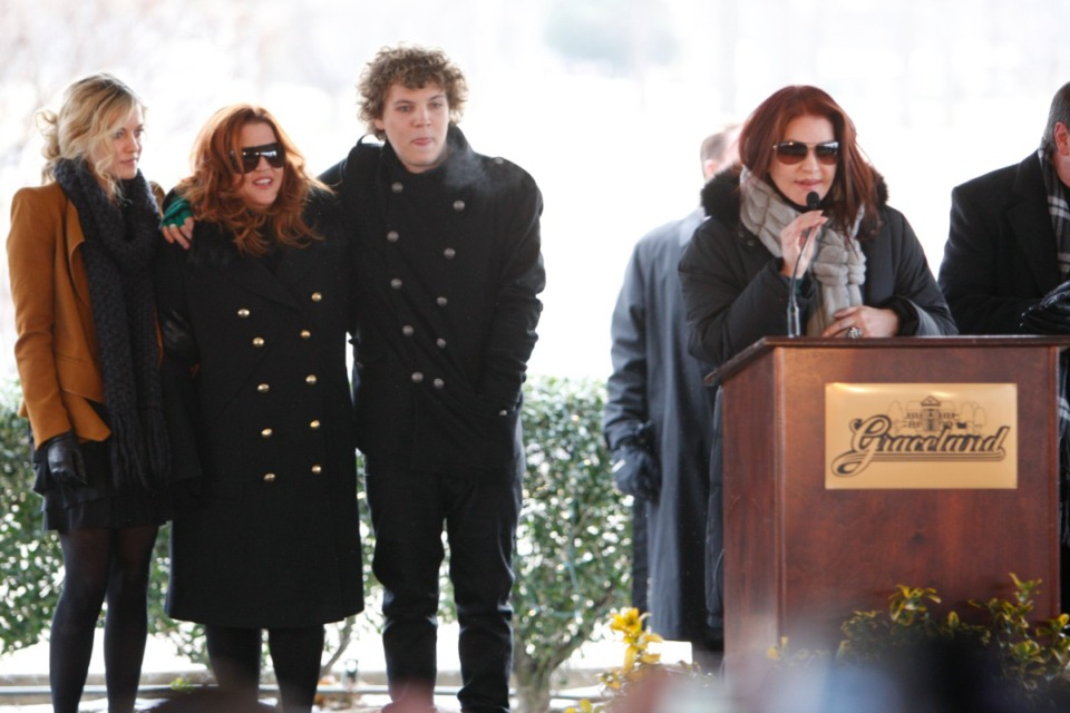 <strong>Benjamin Keough (third from left) stood with his mother Lisa Marie Presley and sister Riley Keough (left), as his grandmother Priscilla Presley spoke during a ceremony commemorating Elvis Presley's 75th birthday on Friday, Jan. 8, 2010 at Graceland.</strong>&nbsp;<strong>Benjamin died Sunday, July 12, 2020 in California at age 27.</strong> (Mark Humphrey/AP file)