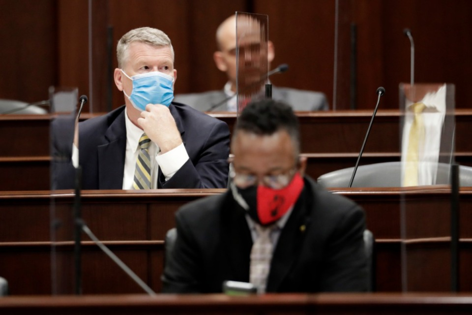 <strong>In this May 26, 2020, file photo, state Rep. John Mark Windle, left, D-Livingston, wears a mask during a committee meeting of the House K-12 subcommittee in Nashville, Tenn.</strong> (Mark Humphrey/AP file photo)