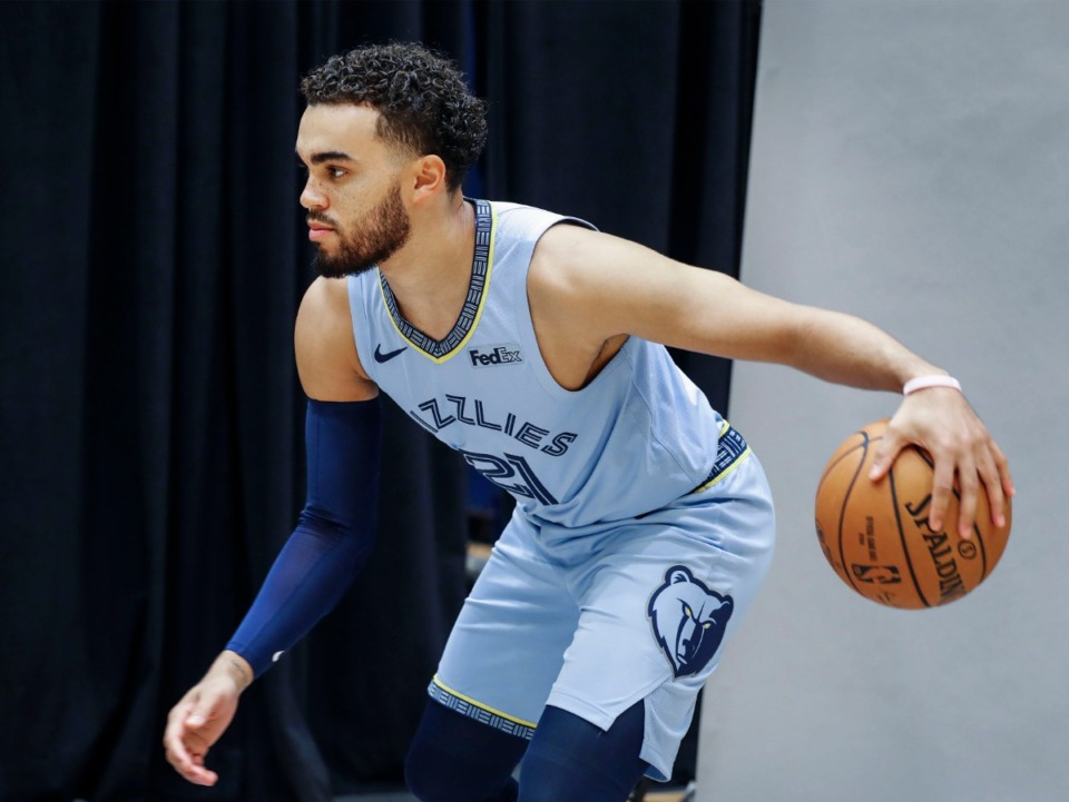<strong>The Memphis Grizzlies, including point guard Tyus Jones (shown during a media day photo shoot on Sept. 30, 2019) resumed five-on-five play in Orlando over the weekend. &ldquo;We&rsquo;re just trying to get back into the swing of live play and live situations and making reads and things of that nature,&rdquo; Jones said.</strong> (Mark Weber/Daily Memphian file)