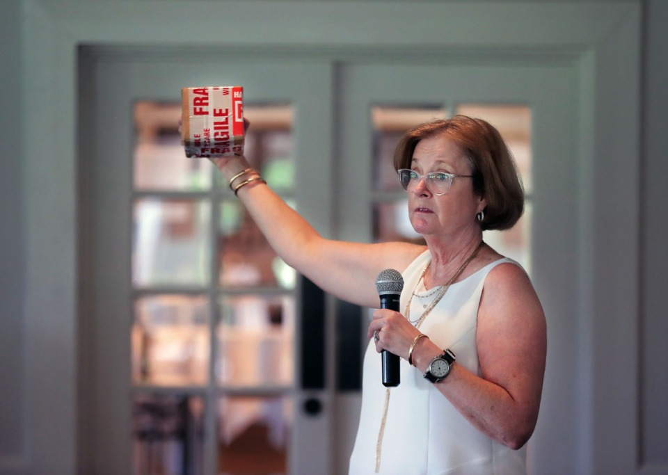 <strong>Grace McLaren speaks about suicide prevention at a East Memphis Rotary Club luncheon at Windyke Country Club July 15, 2020.</strong> (Patrick Lantrip/Daily Memphian)