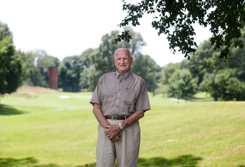 <strong>World Golf Championships-FedEx St. Jude Invitational volunteer Charles Speed, who has been volunteering for 60 years, stands near the 9th</strong> <strong>green on Wednesday, July 15, 2020.</strong> (Mark Weber/Daily Memphian)