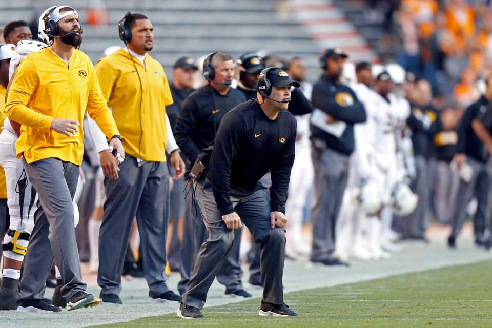 <strong>Missouri head coach Barry Odom watches a play in the first half of an NCAA football game against Tennessee on Nov. 17, 2018, in Knoxville.</strong> (AP File Photo/Wade Payne)