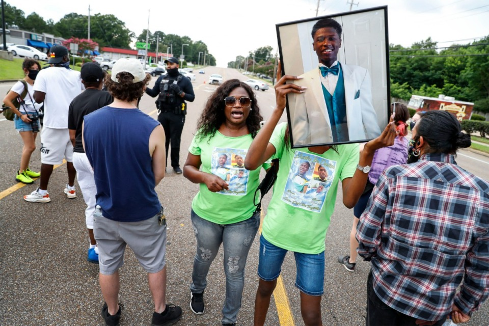 <strong>Protesters and family members of Darrius Stewart, who was shot and killed five years ago by Memphis Police Officer Connor Schilling, stop traffic on Winchester Avenue Friday, July 17, 2020.</strong> (Mark Weber/Daily Memphian)